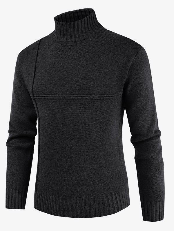 Solid Color Mock Neck Casual Sweater - BLACK M
