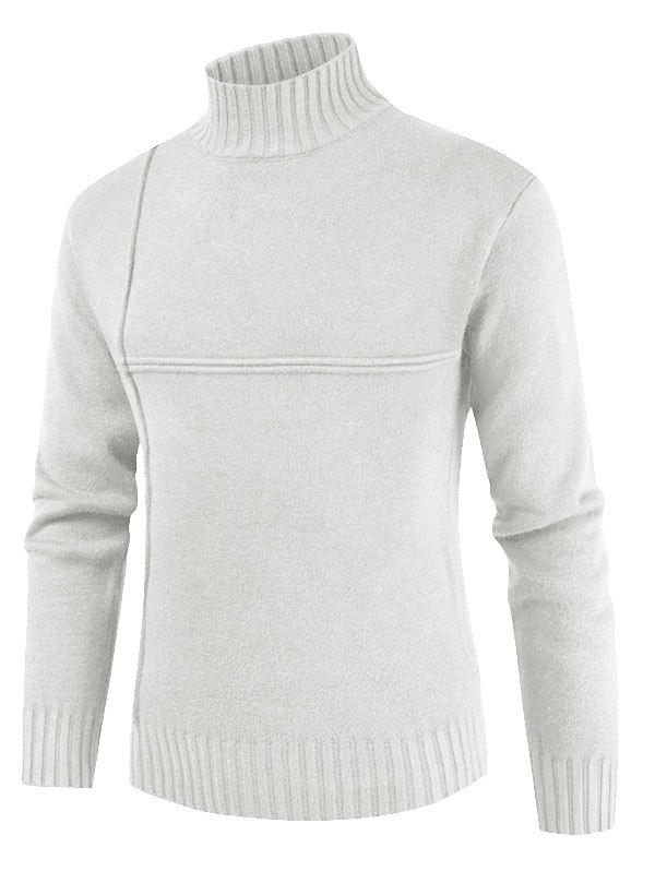 Solid Color Mock Neck Casual Sweater - MILK WHITE 3XL