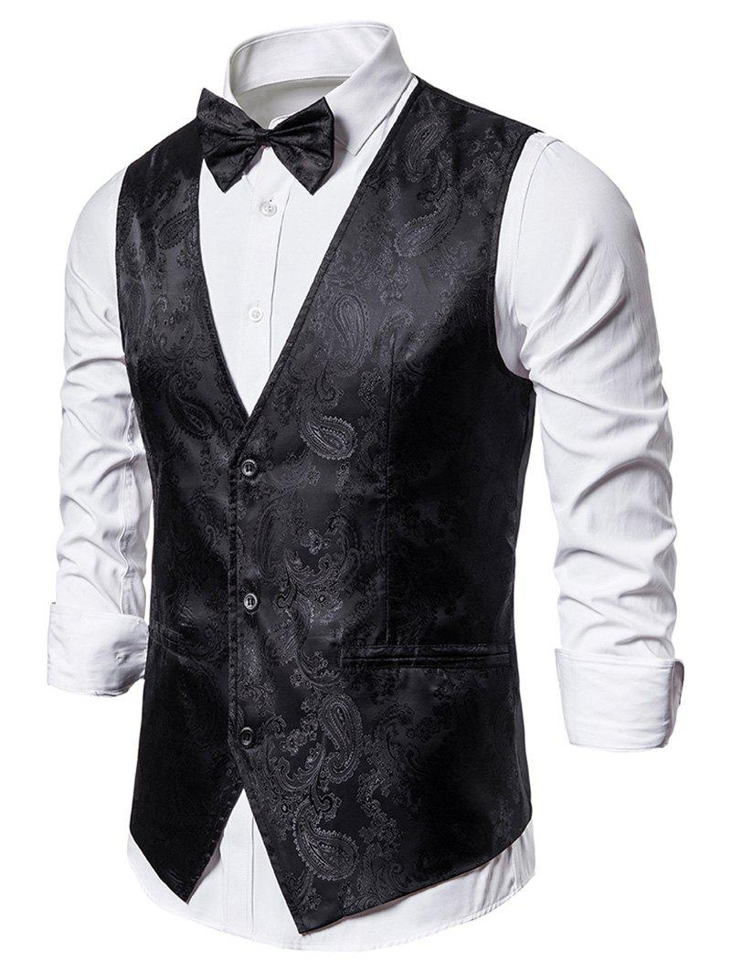 Paisley Jacquard Tuxedo Vest with Bow Tie - BLACK XL