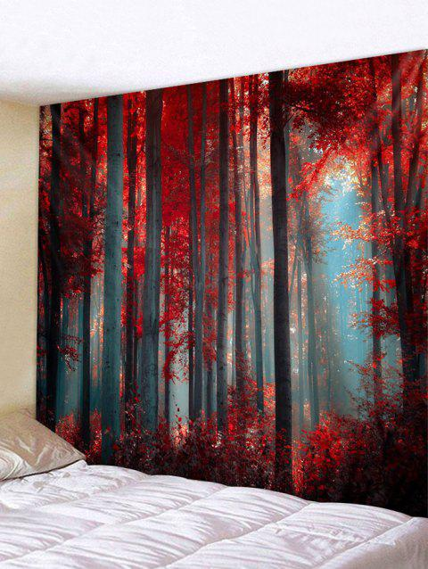 Maple Forest Printed Tapestry Wall Hanging Decoration - RED W91 X L71 INCH