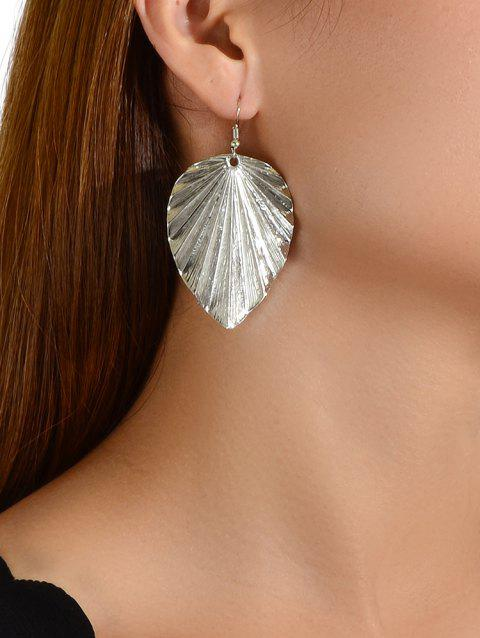 Metallic Leaf Pendant Earrings - SILVER