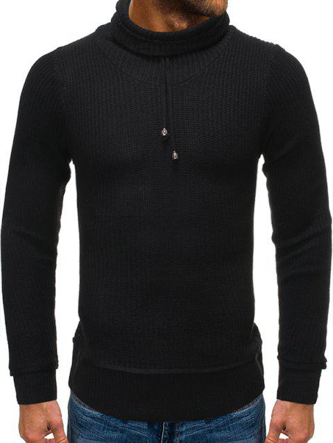 Drawstring Turtleneck Pullover Sweater