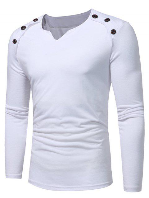 Notch Neck Solid Button Long Sleeve T-shirt - WHITE S