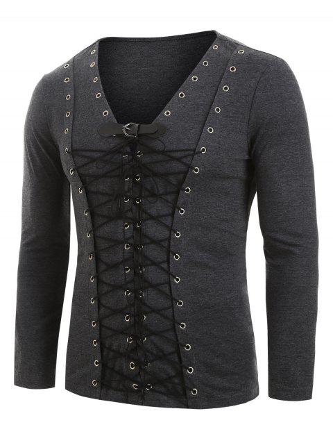 Lace-up Front Buckle Strap Long Sleeve Heathered T-shirt - DARK GRAY M