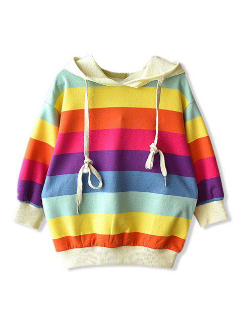 Sweat à Capuche Rayé Coloré à Goutte Epaule pour Fille - multicolor 130