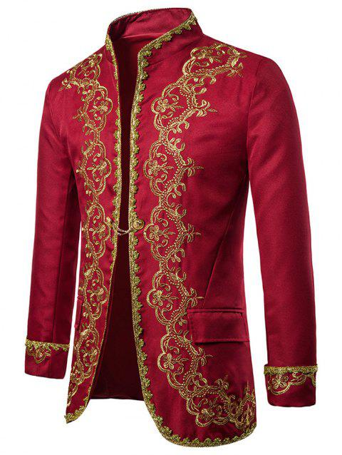 European Style Embroidery Stand Collar Blazer - RED 2XL