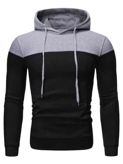 Sweat à Capuche en Blocs de Couleurs en Laine - Noir 2XL