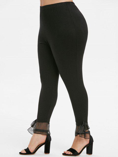 Knotted Hem High Waisted Solid Plus Size Leggings - BLACK L
