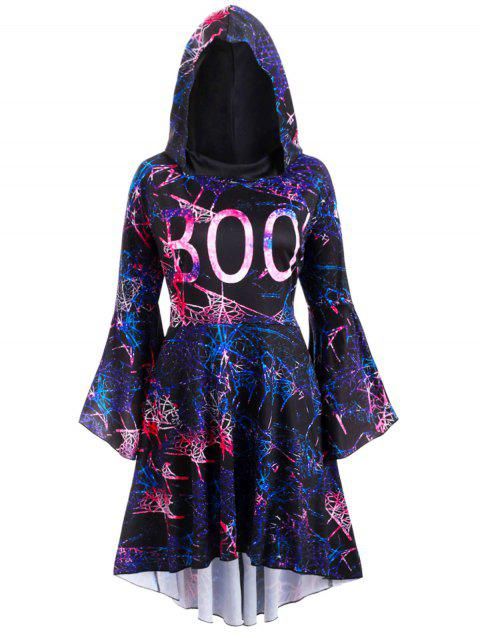 Galaxy Print Flare Sleeve High Low Hooded Plus Size Dress - BLACK 1X