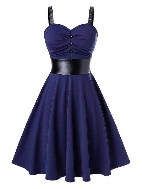 Sleeveless Fit And Flare Button Two Tone Dress - CADETBLUE 2XL