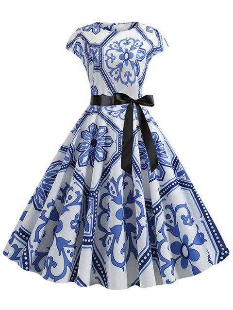 Cap Sleeves Floral Print Belted Flare Dress - BLUE 2XL