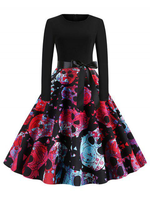 Skull Floral Belted Long Sleeves Halloween Flare Dress - multicolor B 2XL