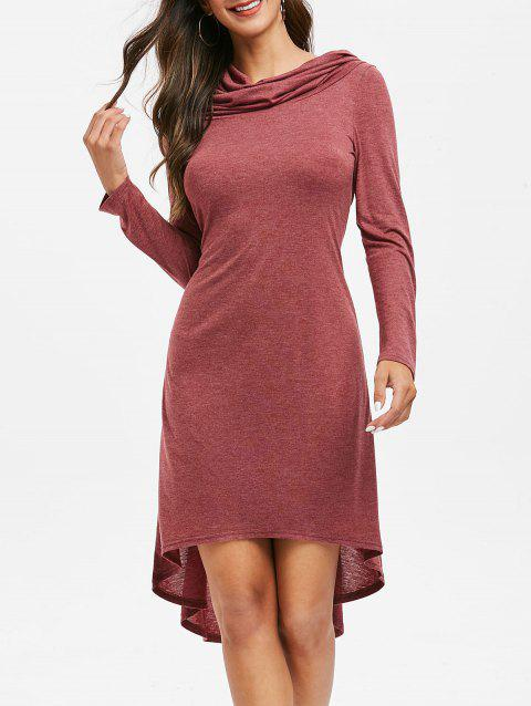 High Low Lace Up Midi Dress - RED WINE 3XL