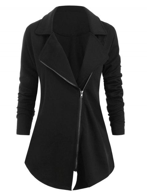 Plus Size Notch Lapel Zip Up Asymmetrical Coat - BLACK 2X