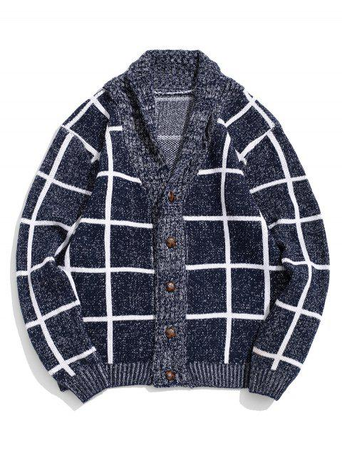 Grid Print Button Up Heather Knit Cardigan - DEEP BLUE XS
