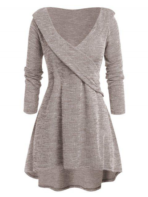 Plus Size Tunic High Low Plunging Neck Sweater - BLANCHED ALMOND 4X