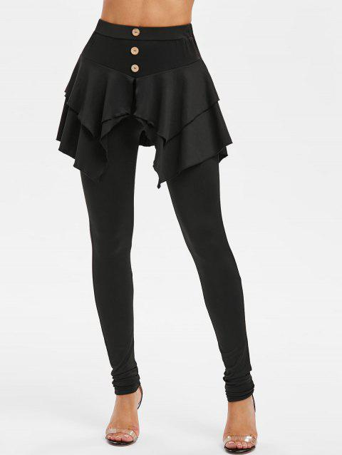 Button High Waist Skirted Skinny Pants - BLACK 2XL