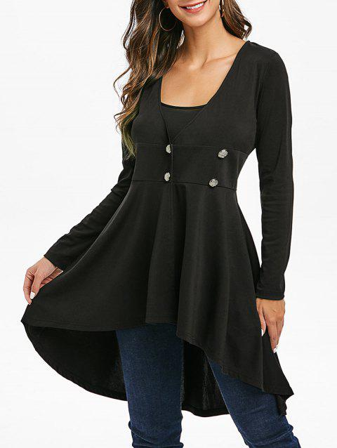 Solid Longline High Low Coat - BLACK 2XL
