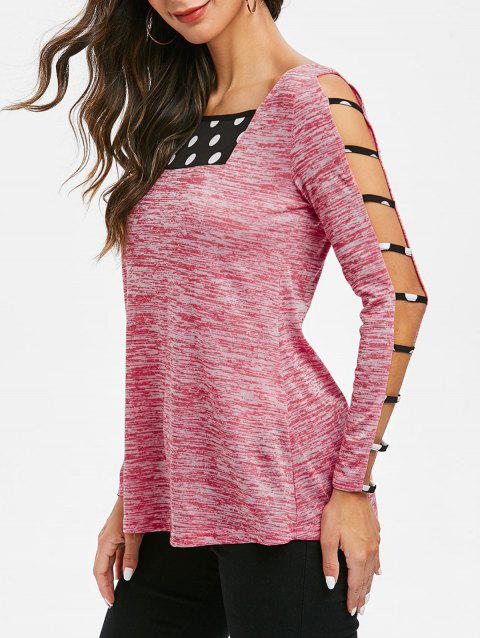 Cut Out Marled Square Collar T Shirt - WATERMELON PINK 2XL
