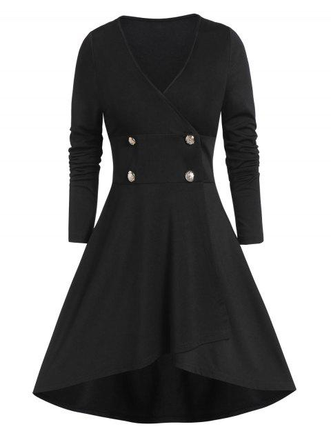 Solid Longline High Low Coat - BLACK XL
