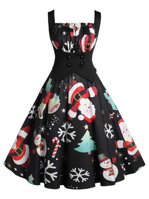 Plus Size High Waist Square Collar Fit And Flare Christmas Dress - BLACK L