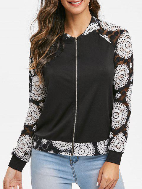 Floral Print Raglan Sleeve Zippered Coat