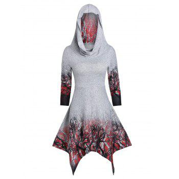 Halloween Convertible Tree Print Handkerchief Dress