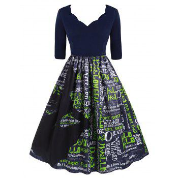 Plus Size Vintage Halloween Letter Print Flare Dress