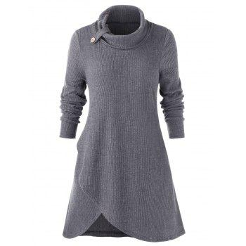 Plus Size Solid Long Sleeve Slit Sweater