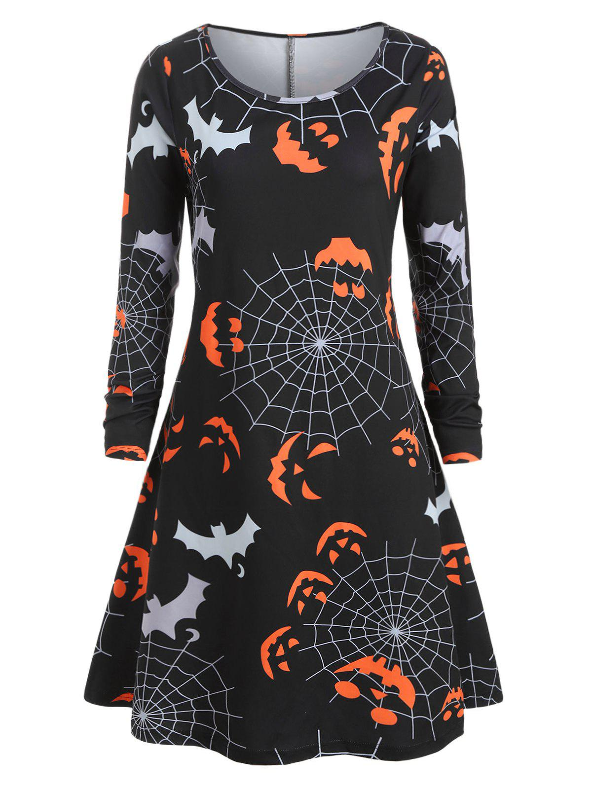 Plus Size Halloween Pumpkin Spider Web Print T Shirt Dress - BLACK L