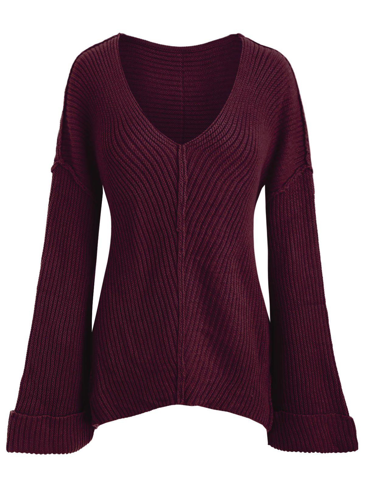 Plus Size V Neck Drop Shoulder High Low Sweater - RED M
