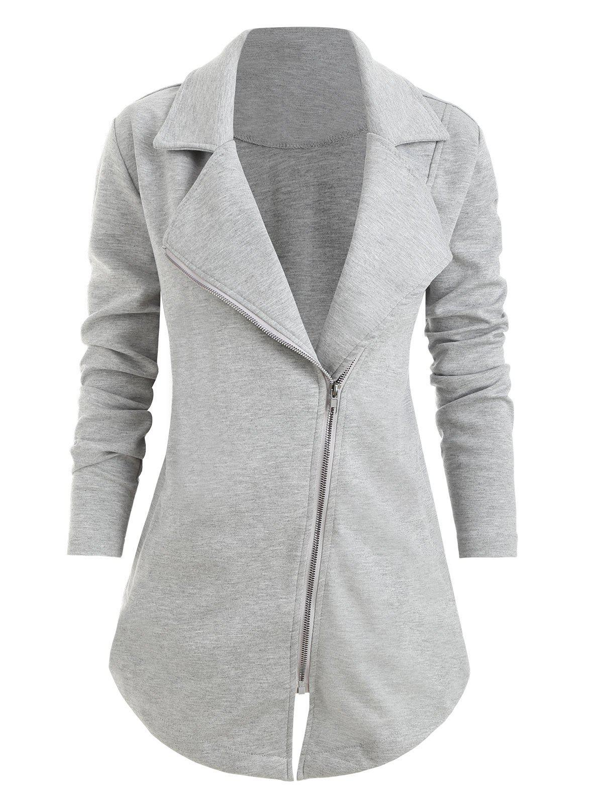Plus Size Notch Lapel Zip Up Asymmetrical Coat - GRAY 1X