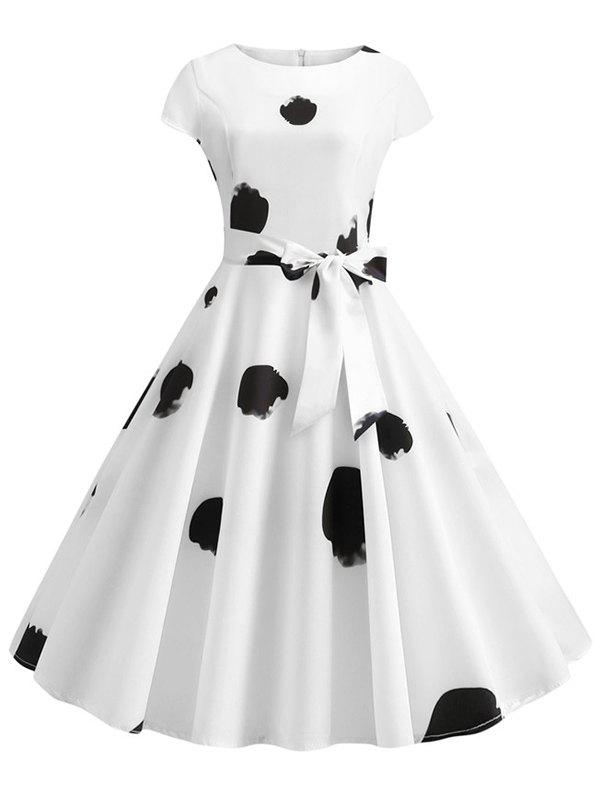 Printed Cap Sleeves Belted Flare Dress - WHITE M