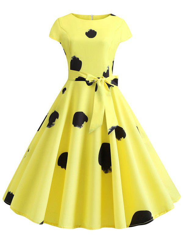 Printed Cap Sleeves Belted Flare Dress - YELLOW M