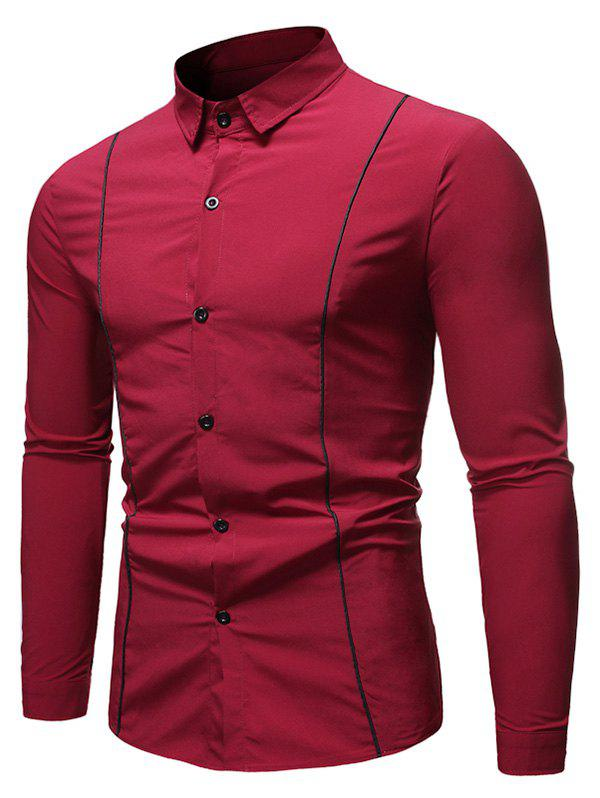 Contrast Piped Trim Button Up Long Sleeve Shirt - RED 2XL
