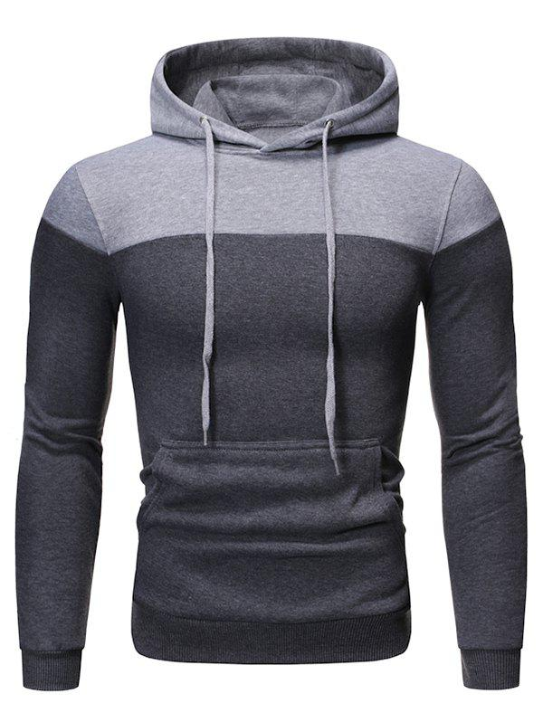 Color-blocking Fleece Pullover Hoodie - DARK GRAY 3XL