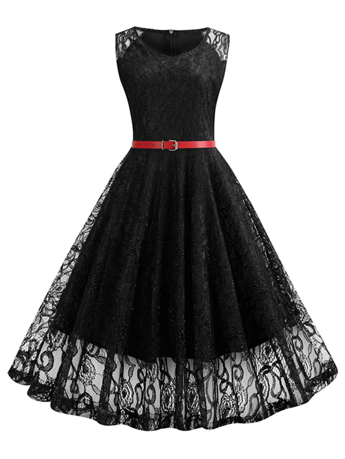 Sleeveless Belted Lace A Line Dress - BLACK M