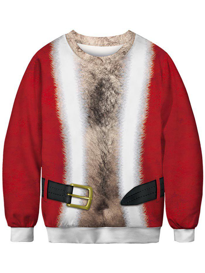 Christmas Buckle Print Sweatshirt - CHESTNUT RED 2XL