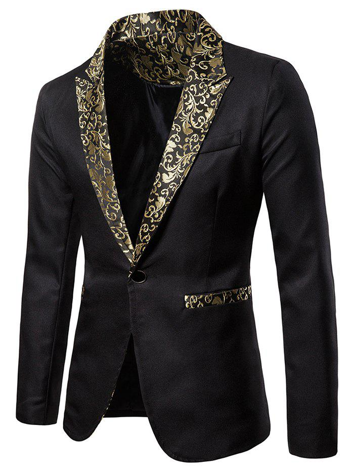 Jacquard One Button Faux Pocket Lapel Blazer - BLACK XL