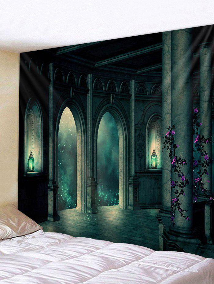 Halloween Retro Castle Print Tapestry Wall Hanging Art Decoration - PEACOCK BLUE W91 X L71 INCH