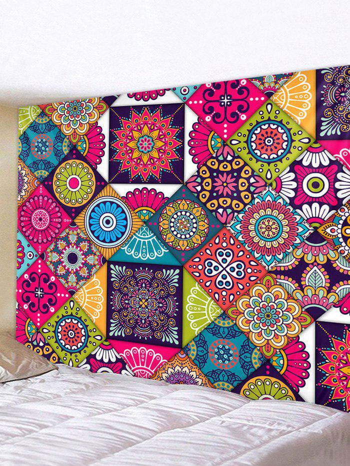 Bohemian Patchwork Printed Tapestry Wall Hanging Decoration - multicolor W59 X L59 INCH