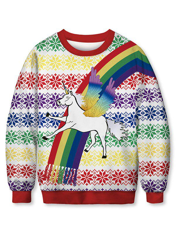 Unicorn Rainbow Printed Sweatshirt - multicolor 2XL