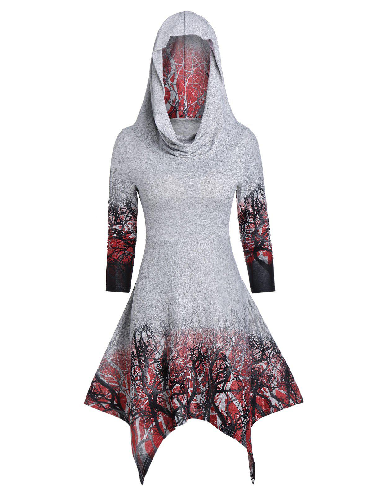 Halloween Convertible Tree Print Handkerchief Dress - GRAY GOOSE L