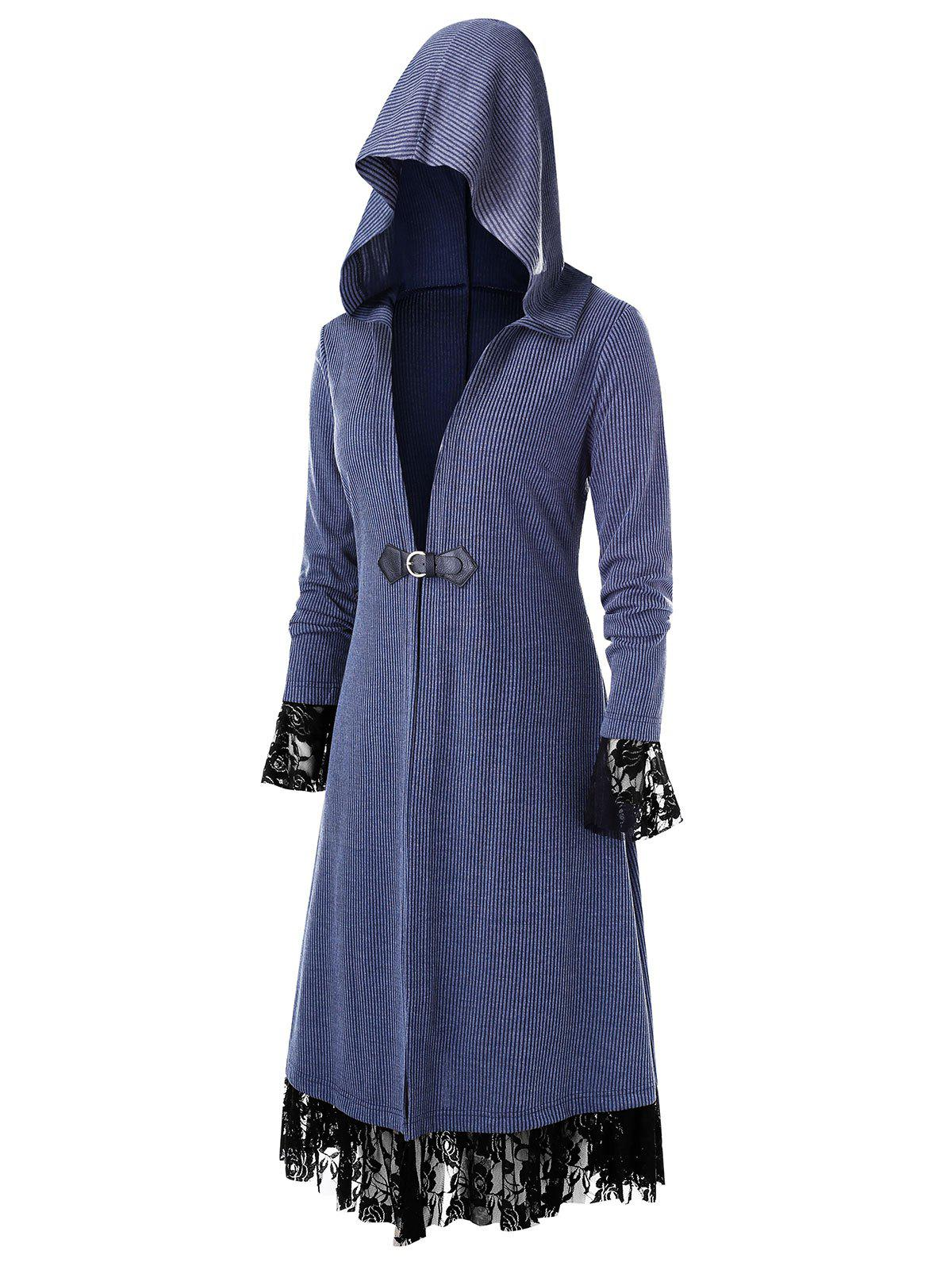 Plus Size Longline Hooded Lace Insert Coat - DARK SLATE BLUE 4X