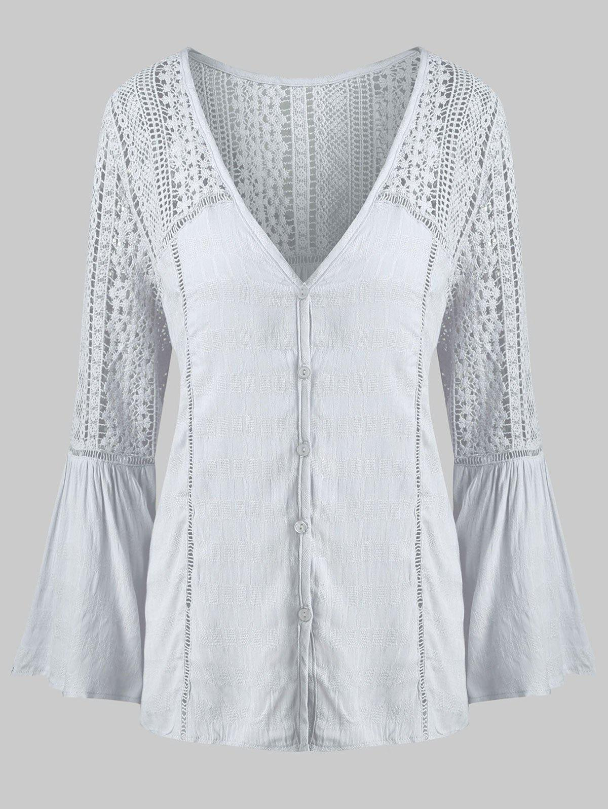 Plus Size Sheer Lace Panel V Neck Flare Sleeve Blouse - GRAY L