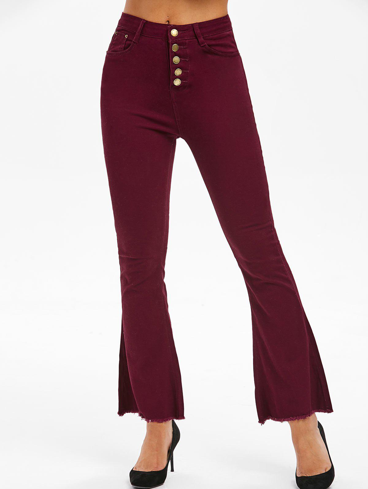 Button Fly Frayed Hem Boot Cut Pants - RED WINE S