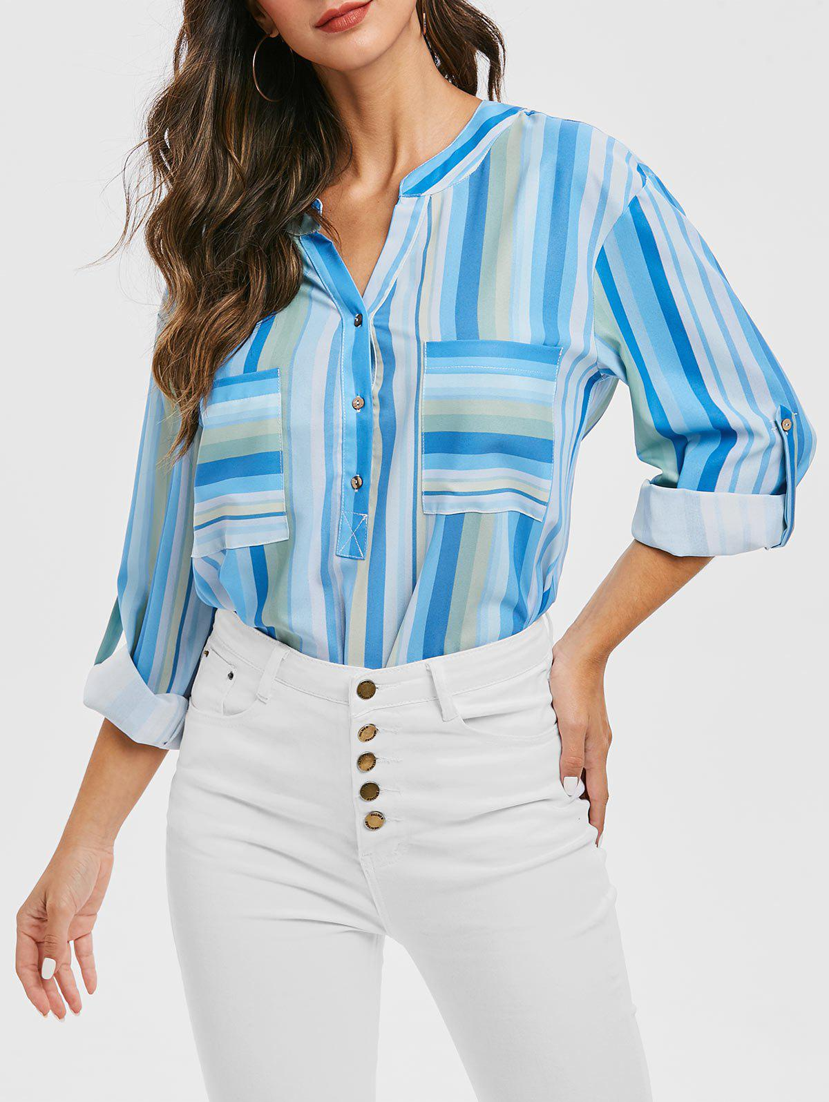 Half Button Striped Pockets Longline Blouse - BLUE M