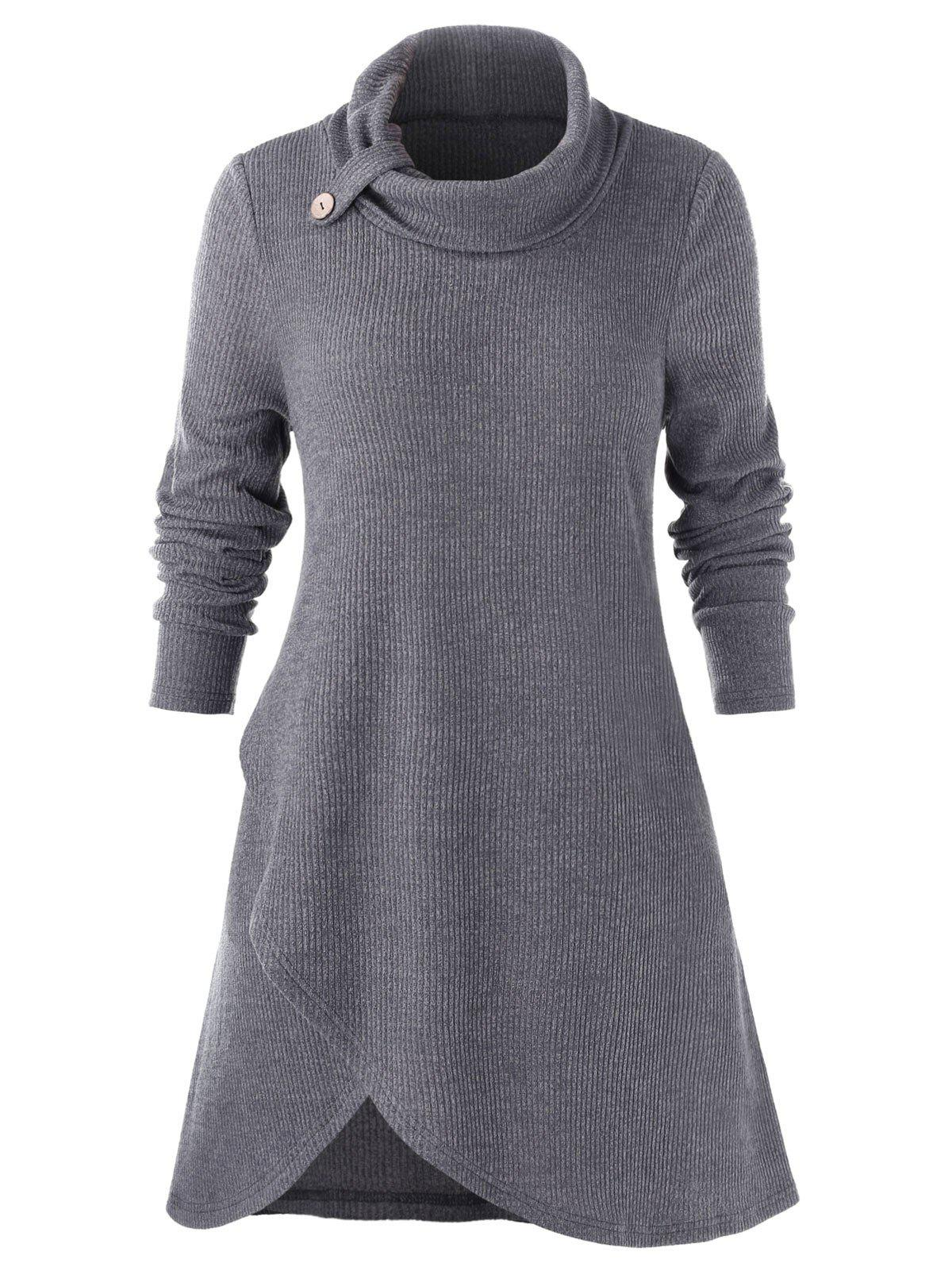 Plus Size Solid Long Sleeve Slit Sweater - BATTLESHIP GRAY 2X