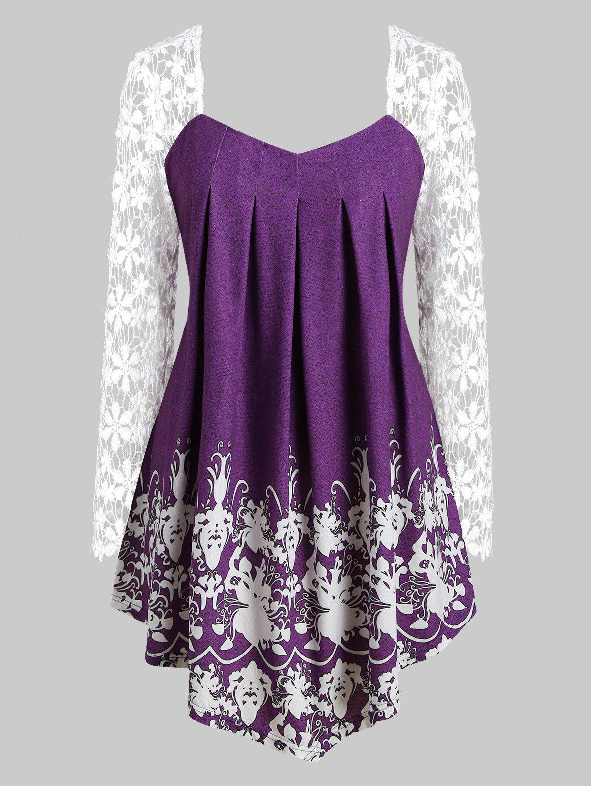 Printed Lace Sleeve Curved Hem Plus Size Top - PURPLE L