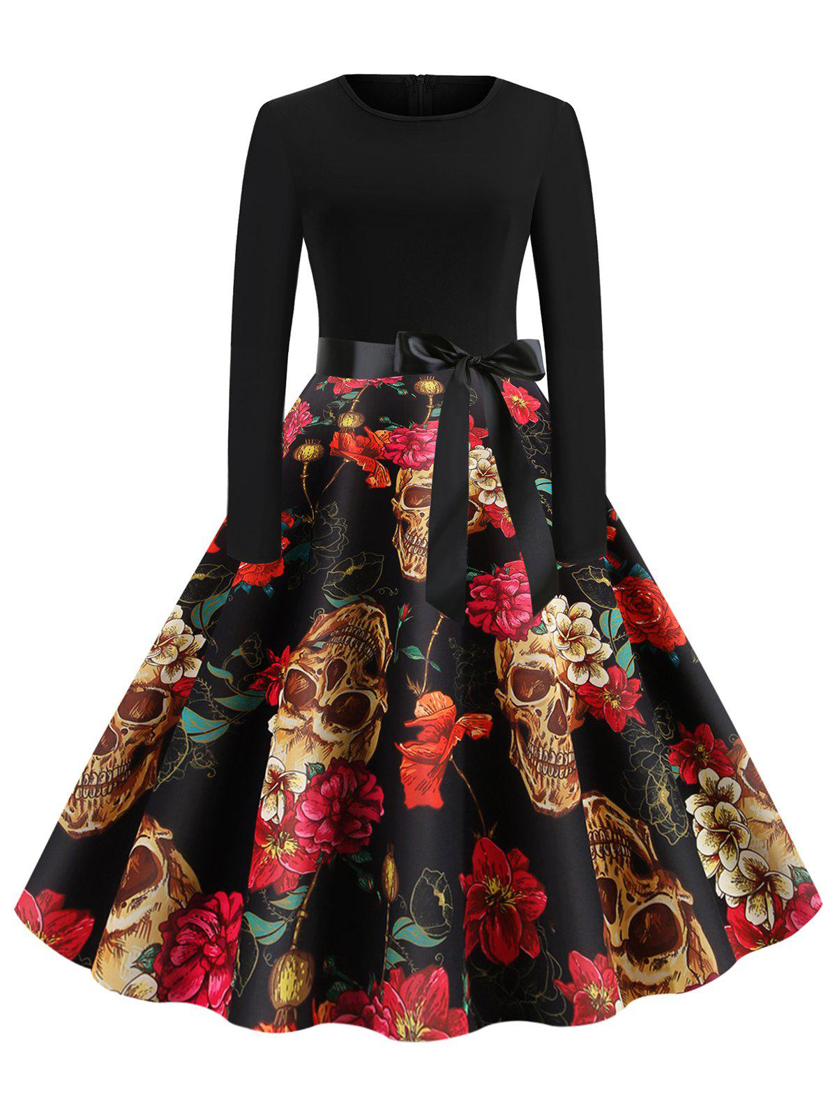Skull Floral Belted Long Sleeves Halloween Flare Dress - multicolor A 2XL